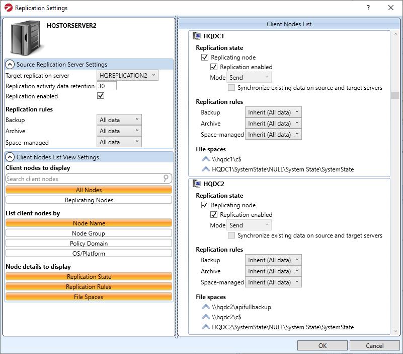 SSC Replication Settings screenshot